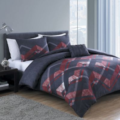 VCNY Codi 3-Piece Twin/Twin XL Duvet Cover Set in Grey/Red