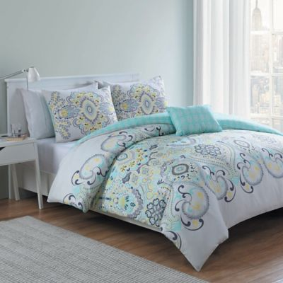VCNY Amherst 3-Piece Reversible Twin/Twin XL Comforter Set in White/Aqua