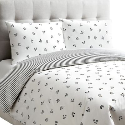 Dance Reversible Twin Duvet Cover Set in White