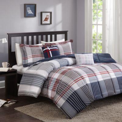Cozy Soft® Caleb Full/Queen Comforter Set in Grey/Navy/Red