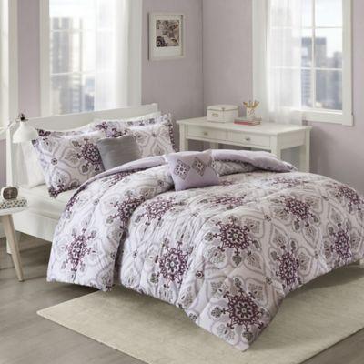 Cozy Soft® Cassy Full/Queen Comforter Set in Purple/Grey
