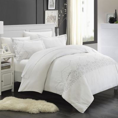 Chic Home Saunder 7-Piece King Duvet Cover Set in White