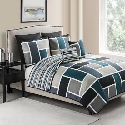 VCNY Morgan 7-Piece Reversible King Quilt Set in Blue