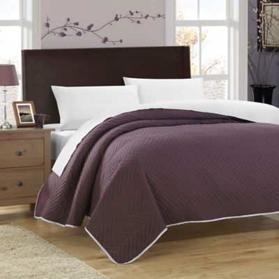 Chic Home Milanese 5-Piece Reversible Queen Quilt Set in Plum