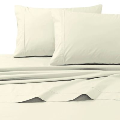 300-Thread-Count Egyptian Cotton Percale Queen Sheet Set in Ivory