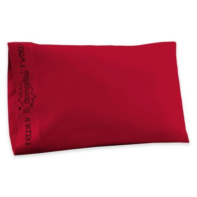 T-Shirt Jersey Knit Friday My Favorite F Word Standard Pillowcases in Red (Set of 2)