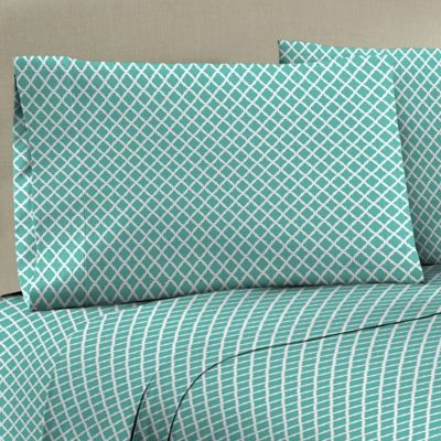 Mix and Match 330-Thread-Count 100% Cotton Sateen Standard Pillowcase in Aqua/White