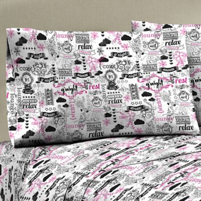Mix and Match Printed Chalkboard Standard Pillowcases in Black/White (Set of 2)
