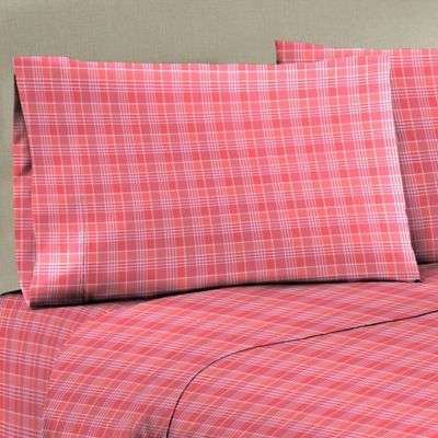 Mix and Match Printed Plaid Standard Pillowcases in Coral (Set of 2)