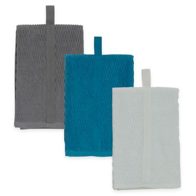 Aria Solid Cotton Kitchen Towel in Teal
