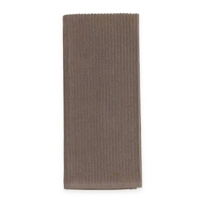 Aria Solid Ribbed 2-in-1 Duo Kitchen Towel in Tan