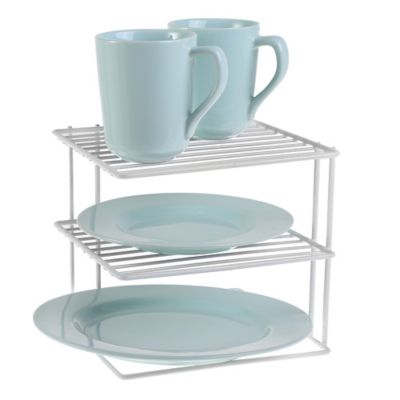 SALT 2-Tier Steel Corner Shelf in White