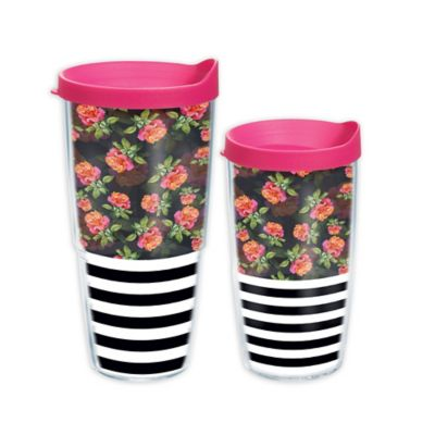 Tervis® Black and White Horizontal Stripe Roses 16 oz. Wrap Tumbler with Lid