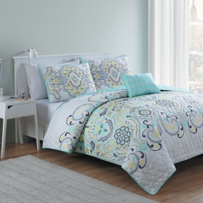 VCNY Amherst 3-Piece Reversible Twin/Twin XL Quilt Set in White/Aqua