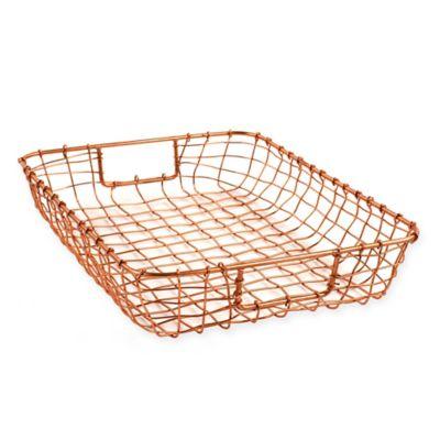 Cabo Metal Letter Basket in Copper