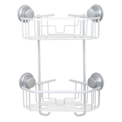 TITAN PowerGrip™ NeverRust™ Suction Two-Tier Corner Shower Basket