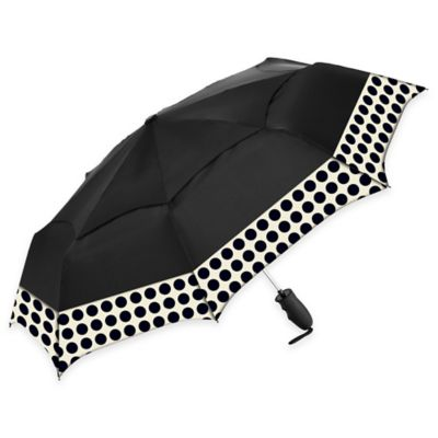 Spot On 42-Inch Rain Umbrella in Black/Black Dot