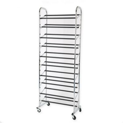 30-Pair Rolling Adjustable Shoe Rack in Chrome