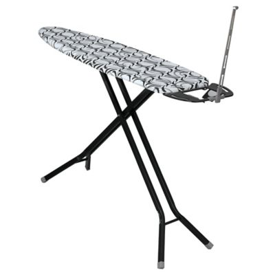 Household Essentials® Deluxe 4-Leg Ironing Board with Iron Rest and Cord Minder in Black
