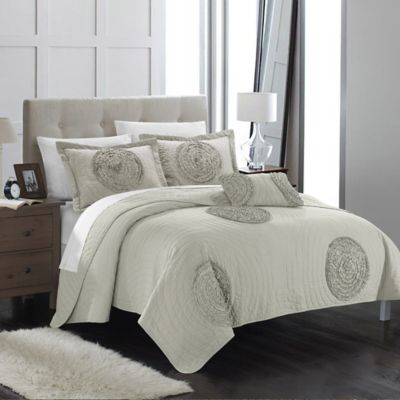 Chic Home Europa 4-Piece King Quilt Set in Taupe