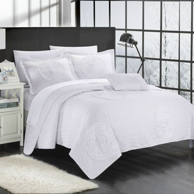 Chic Home Europa 4-Piece King Quilt Set in White