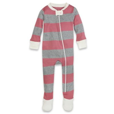 Burt's Bees Baby® Size 18M Rugby Striped Footed Pajama in Pink