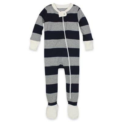 Burt's Bees Baby® Size 18M Rugby Stripe Organic Cotton Footed Pajama in Navy