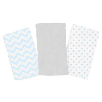 Summer Infant® SwaddleMe® 3-Pack Chevron/Stars Muslin Blankets in Blue