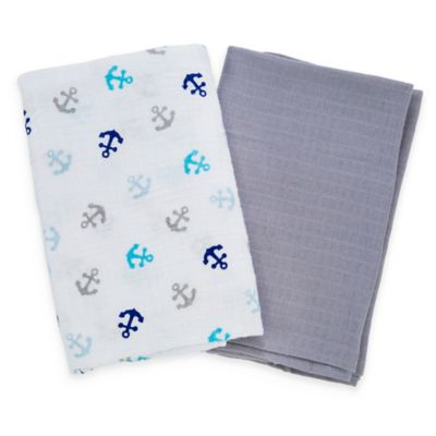 Summer Infant® SwaddleMe® 2-Pack Anchor/Solid Muslin Blankets in Grey