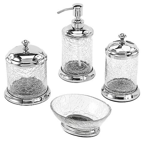 Avanti crackled glass bath ensemble for Crackle glass bathroom set