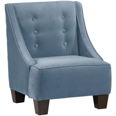 Skyline Furniture Wilson Kids Chair in Velvet Ocean