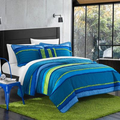 Chic Home Moretta Twin Quilt Set in Blue