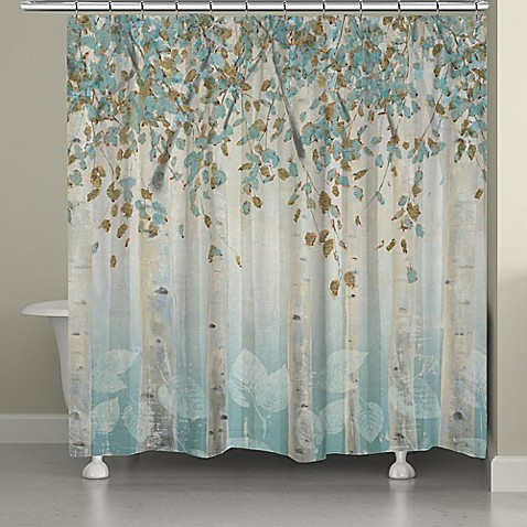 Laural Home Dream Forest Shower Curtain In Grey Blue