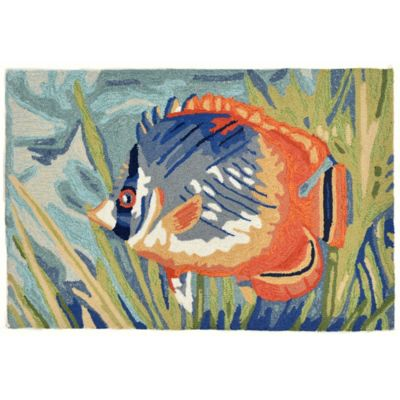 Trans-Ocean Ravella Tropical Fish Ocean 2-Foot x 3-Foot Indoor/Outdoor Accent Rug in Blue