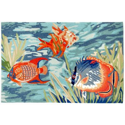Trans-Ocean Ravella Tropical Fish Ocean 7-Foot 6-Inch x 9-Foot 6-Inch Indoor/Outdoor Rug in Blue
