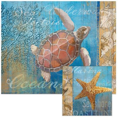 Beneath The Sea 12-Inch x 15-Inch Glass Cutting Board with Trivet Set