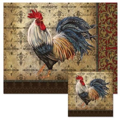 Rooster 12-Inch x 15-Inch Glass Cutting Board with Trivet Set