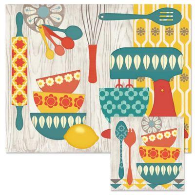 Retro Kitchen 12-Inch x 15-Inch Glass Cutting Board with Trivet Set