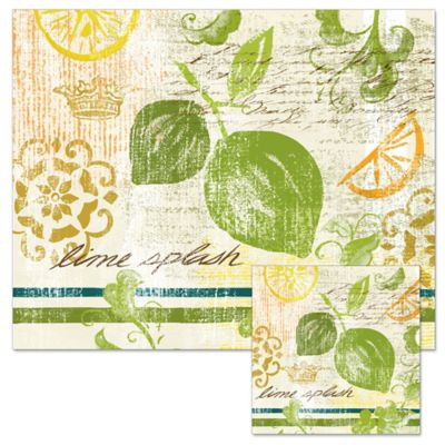 Fruit Crush 12-Inch x 15-Inch Glass Cutting Board with Trivet Set
