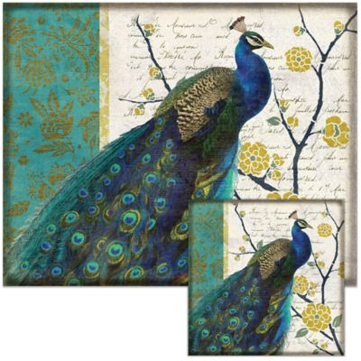 Peacock 12-Inch x 15-Inch Glass Cutting Board with Trivet Set