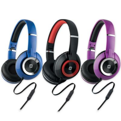iHome® On-Ear Foldable Headphones in Black/Blue