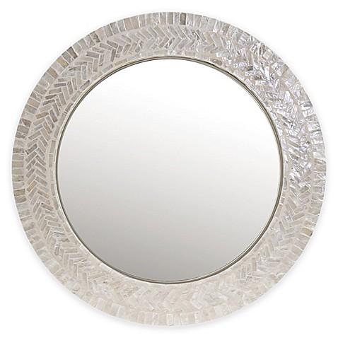 18 Inch Round Capiz Mirror In Ivory Www Bedbathandbeyond Com