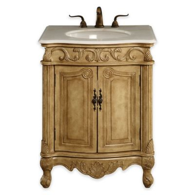 Isabella Single Vanity with Marble Top in Antique Beige