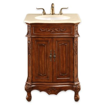 Palazzo Single Vanity with Marble Top in Brown