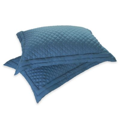 Clean Living Diamond Water/Stain Resistant Standard Pillow Sham in Smoke Blue