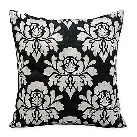 Black Throw Pillows For Bed : Michael Amini Damask Square Throw Pillow in Black/Silver - Bed Bath & Beyond