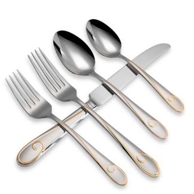 Waterford Ballet Ribbon Gold 5-Piece Flatware Place Setting by Reed And Barton