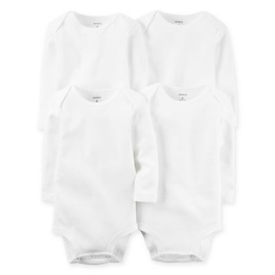 Carter's® 4-Pack Size 12 Months White Long Sleeve Bodysuits