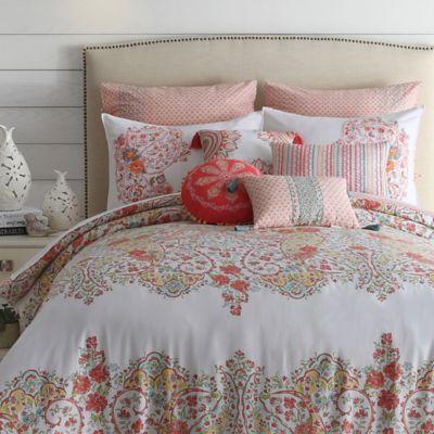 Jessica Simpson Sabine Reversible Full/Queen Comforter Set in Coral/White