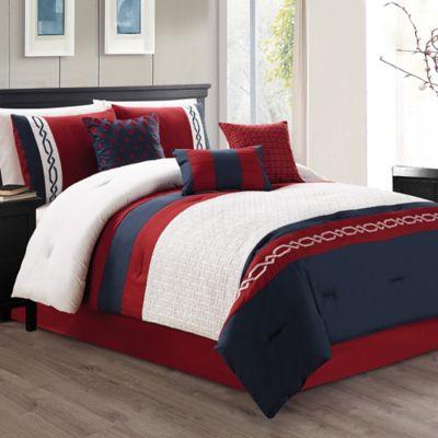 Ozias 7-Piece Queen Comforter Set in Red/Navy